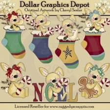 Raggedy Bunnies - Christmas Stockings - Clip Art