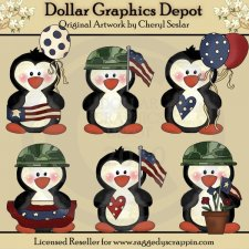 Americana Penguins - Clip Art