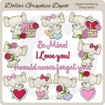 Valentine Elephants - Clip Art - *DGD Exclusive*