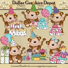 Mikey and Mona Birthday Monkeys - Clip Art