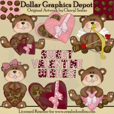 Chocolate Valentine Bears - Clip Art