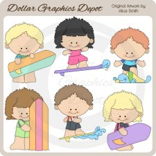 Surfer Kids - Clip Art - *DGD Exclusive*
