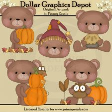 Fall Bears 2 - Clip Art