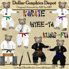 Kung Fu Karate Bears - Clip Art