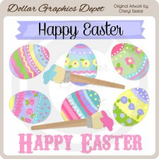 Pretty Easter Eggs - Clip Art