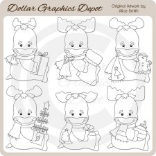 Christmas Moose - Digital Stamps - *DCS Exclusive*