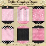 Designer Sign Boards - Pink & Black - Clip Art