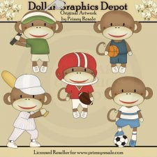 Sports Sock Monkeys - Clip Art