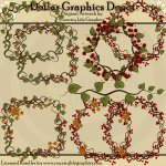 Twig, Leaf, and Berry Garland - Clip Art