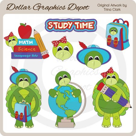 Study Time Turtles - Clip Art