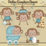 Baby Boy Monkeys - Clip Art
