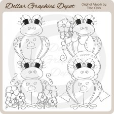 Spring Frogs 1 - Digital Stamps