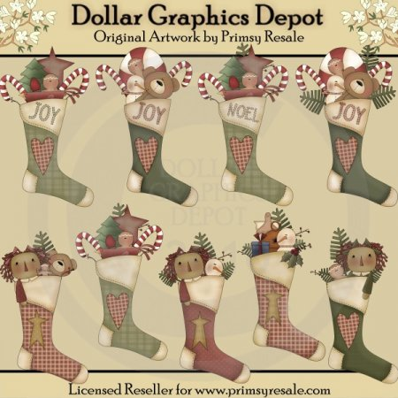 Country Stockings - Clip Art