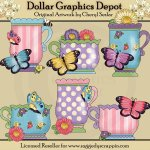 Pretty Butterfly Teacups - Clip Art