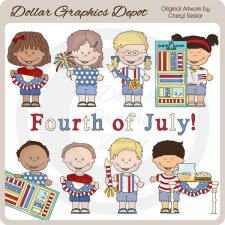 Fourth of July Kids - Clip Art