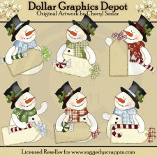 Frosty Fred Christmas Tags - Clip Art
