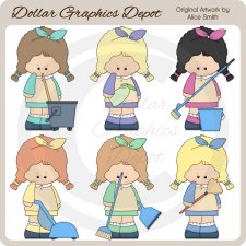 Cleaning Ladies - Clip Art - *DGD Exclusive*