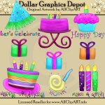 Whimsical Birthday Bright Clip Art