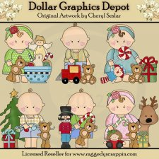 Barefoot Baby's First Christmas - Clip Art