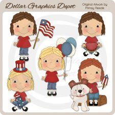 Fourth of July Girls - Clip Art