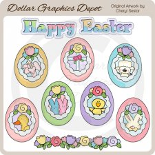 Easter Sugar Eggs - Clip Art