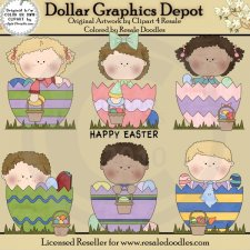 Easter Egg Kids - Clip Art