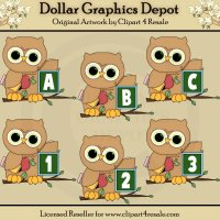 Owl Alphabet and Numbers - Clip Art