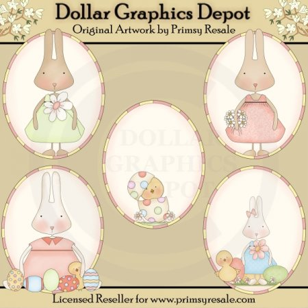 Bunnies and Chicks - Ovals - Clip Art