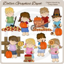 Blue Jean Kids - Fall - Clip Art