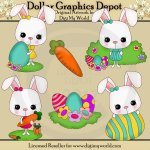 Short Eared Bunnies - Clip Art