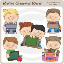 Back To School Kids 4 - Clip Art