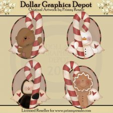 Candy Cane Friends - Ovals