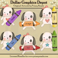 Crayon Puppies - Clip Art