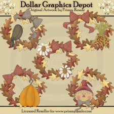Fall Wreaths - Clip Art