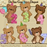 Timeless Teddies - Birthday - Clip Art