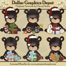Blacky Bear - Christmas Cookies - Clip Art