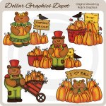 Fall Pumpkin Bears - Clip Art