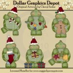 Gingham Turtles - Christmas - Clip Art