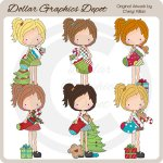 Cute Katie Loves Christmas - Clip Art