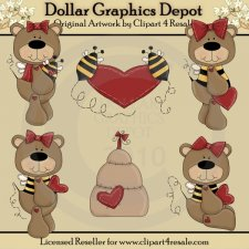 Bee Mine Bears - Clip Art - *DGD Exclusive*