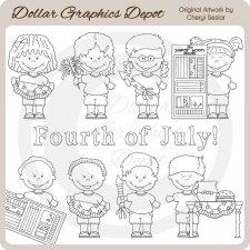 Fourth of July Kids - Digital Stamps