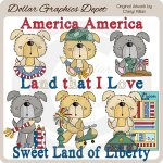 Scruffy Pups - America - Clip Art - *DGD Exclusive*