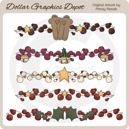 Christmas Berry Borders - Clip Art