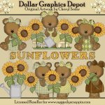 Sunflower Bears - Clip Art - *DGD Exclusive*