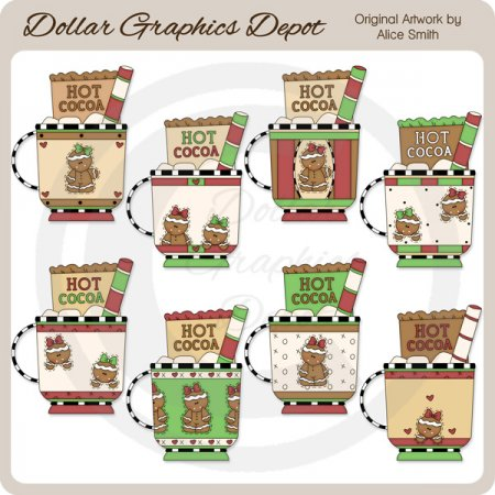 Gingerbread Cocoa Mugs - Clip Art - *DGD Exclusive*