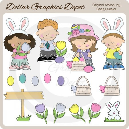 Bunny Trail Kids - Clip Art