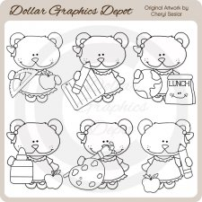 Bella Bear - School - Digital Stamps