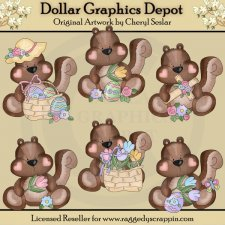 Little Squirrels - Easter - Clip Art