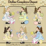 Patchwork Girls - Easter Time - Clip Art