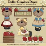 Apple Harvest Bears - Clip Art - *DGD Exclusive*